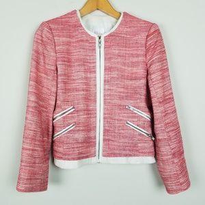 Parker Leather Trim Tweed Full Zip Blazer A1401